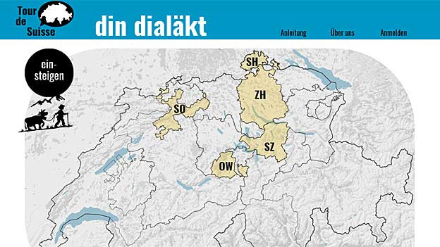 Aus welchem Kanton kommt das gehörte Tonbeispiel? - auf www.dindialaekt.ch können Sie mitspielen.