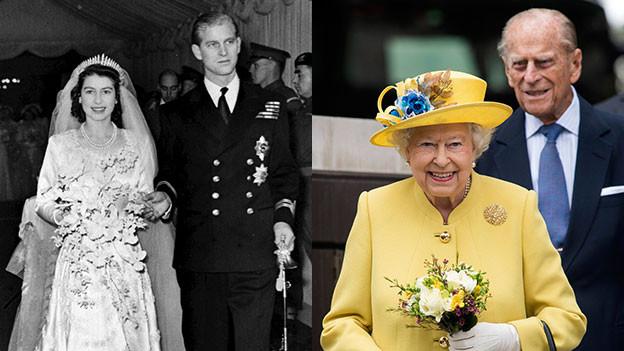 Queen Elizabeth und Prinz Philip bei der Hochzeit und heute (Bildmontage).