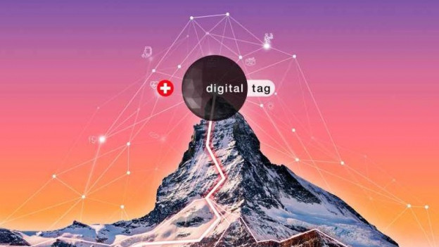 Matterhorn mit farbigem Hintergrund und Schriftzug «Digitaltag».