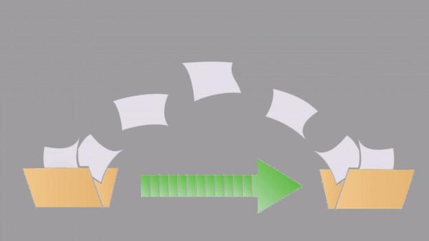 Grafische Darstellung zeigt das Verschicken von Dateien.