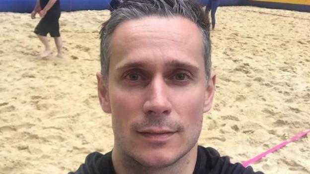 Matthias Huber bei einem Volleyballturnier.
