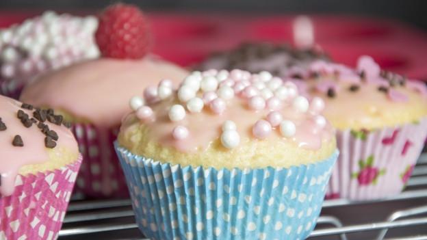 Verschiedene bunte Cupcakes stehen auf einem runden Backgitter, dahinter eine Silikonbackform.