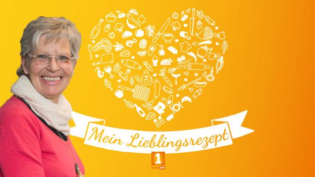 """""""Helden des Alltags""""-Finalistin Margrit Bischofberger vor orangem Hintergrund auf dem ein Herz aus verschiedenen Gerichten gezeichnet ist. Darunter steht """"Mein Lieblingsrezept""""."""