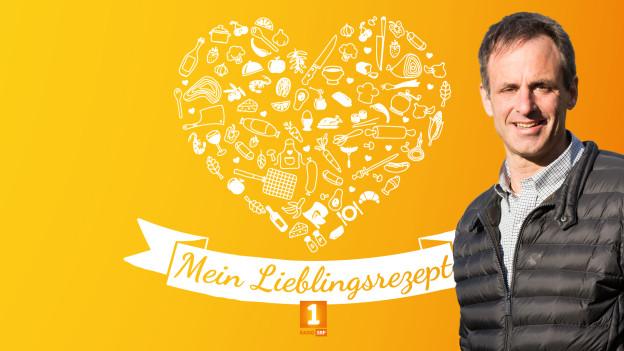 """""""Helden des Alltags""""-Finalist Markus Walser orangem Hintergrund auf dem ein Herz aus verschiedenen Gerichten gezeichnet ist. Darunter steht """"Mein Lieblingsrezept""""."""