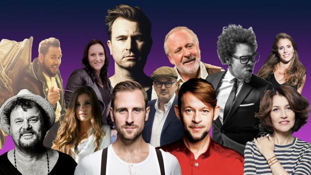 Bildmontage verschiedener Schweizer Musiker und Musikerinnen