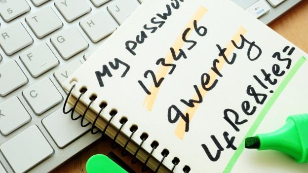 Eine Tastatur, auf der ein Post-It mit Passwörtern liegtl