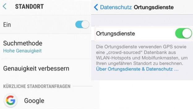 So schalten Sie die Ortung ein-und aus (links: Android, rechts: iOS)
