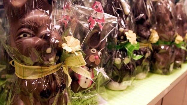 Viele Schokoladenosterhasen verpackt in Plastik.