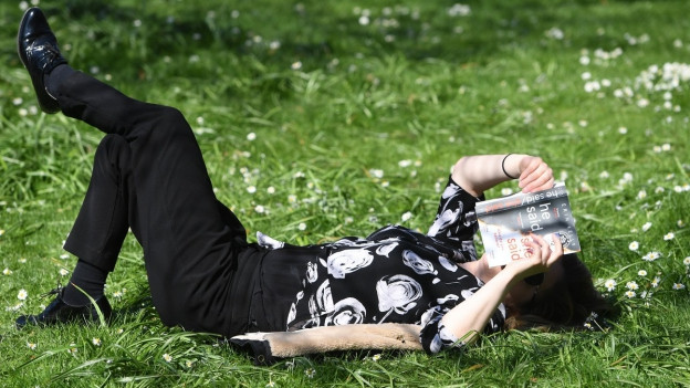 Sonne, eine Wiese, mein Lieblingsbuch. Was was will man mehr?