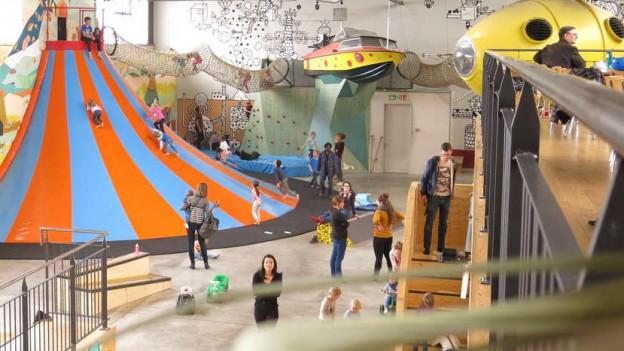 Bimano im Osten Berns: Restaurant, Indoor-Spielplatz und Kletterhalle.