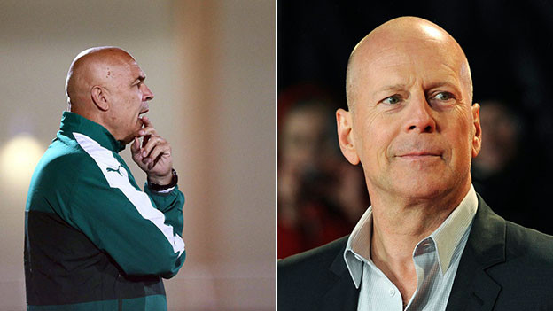 Christian Gross und Bruce Willis.