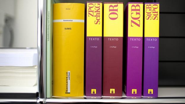 Bücher mit Gesetzestexten in einem Gestell