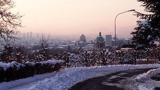 Blick auf das winterliche Zürich