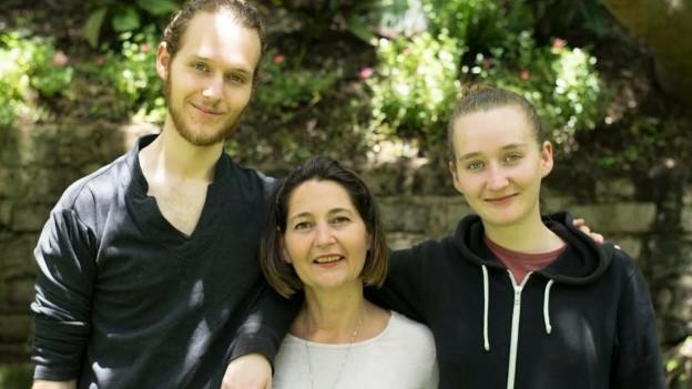 Irene Swezey mit Sohn Sebastian und Tochter Esperanza.