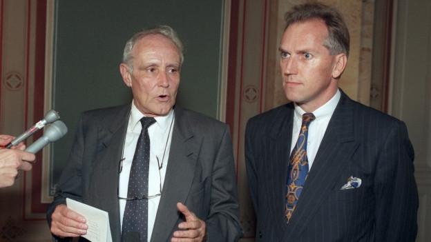 Alt Bundesrat Flavio Cotti und Thomas Borer