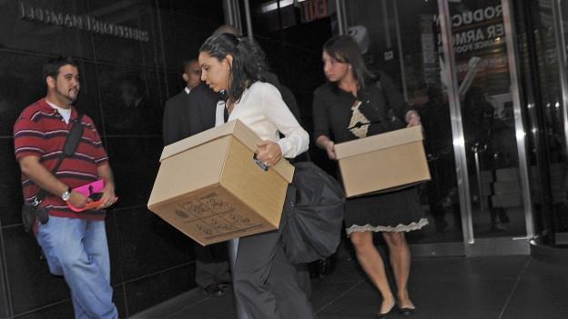 Lehman Brothers Angestellte räumen ihre Büros.