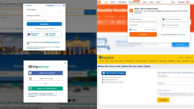 Single-Sign-On auf verschiedenen Reiseportalen.