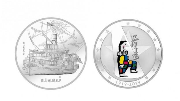 Zwei neue Münzen 'Blümlisalp' und 'Cirkus Knie'