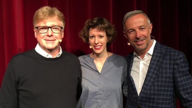 Christoph Vögele (l) und Miriam Ragaz-Gassler zu Gast bei Dani Fohrler
