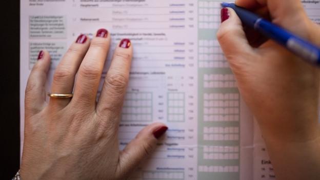 Verheiratete Frau füllt Papiersteuererklärung aus.