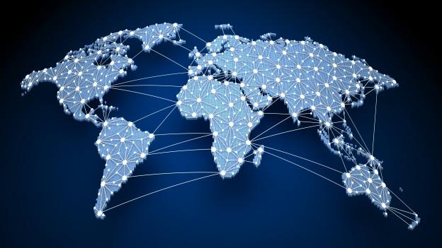Weltkarte mit leuchtenden Punkten, welche verbunden sind