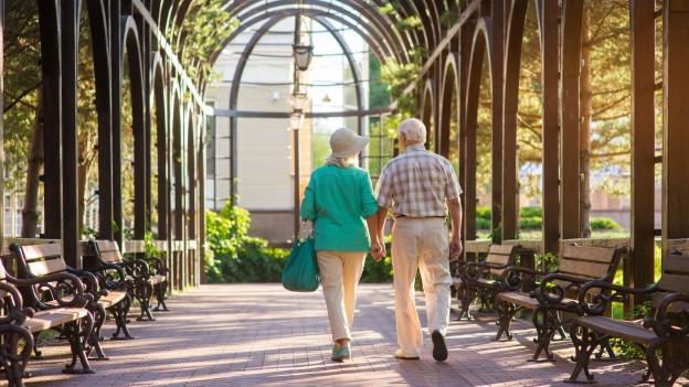 Älteres Paar von hinten spaziert in einer Allee