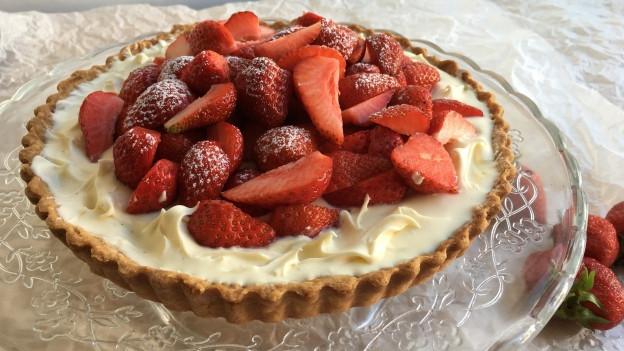 Erdbeertarte mit Mascarpone-Crème.