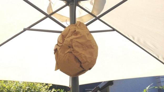 Ein brauner, zerknüllter Papiersack unter einem Sonnenschirm aufgehängt.