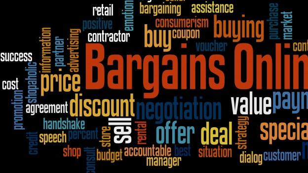 Ein Bild mit Wörtern wie 'Bargains Online', 'offer', 'sell', 'price', etc.