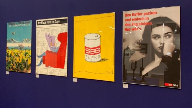 Vier SBB Plakate aus vier Jahrzehnten