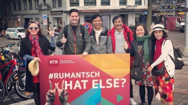 «#rumantschwhatelse: Eine Werbeaktion von Radio Televisiun Rumantscha (RTR) im Jahr 2018, um Rätoromanisch in der Schweiz bekannter zu machen