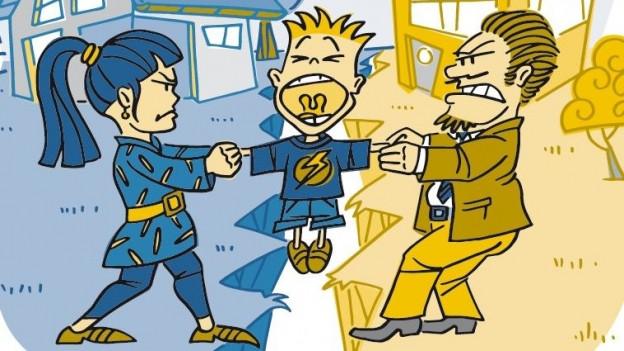 Comic-Darstellung zweier Eltern, die sich um ein Kind reissen.