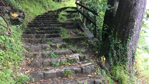 Treppe auf dem «Weg der Schweiz» bei Bauen