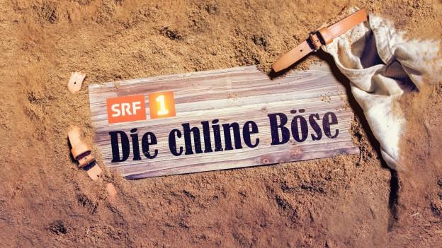 """Schild mit dem Titel """"Die chline Böse"""" liegt im Sägemehl"""