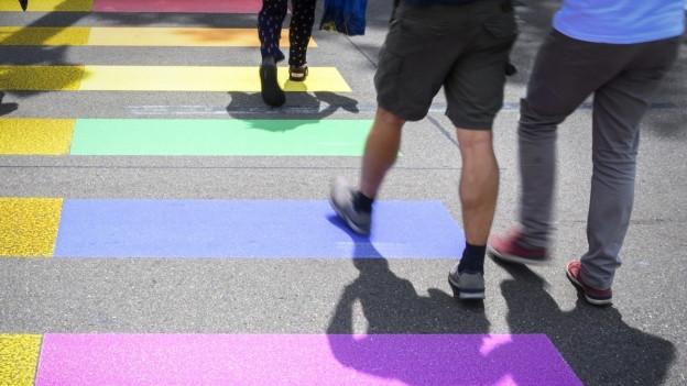 Die Regenbogenfahnen wurden auf einen Fussgängerstreifen gemalt.