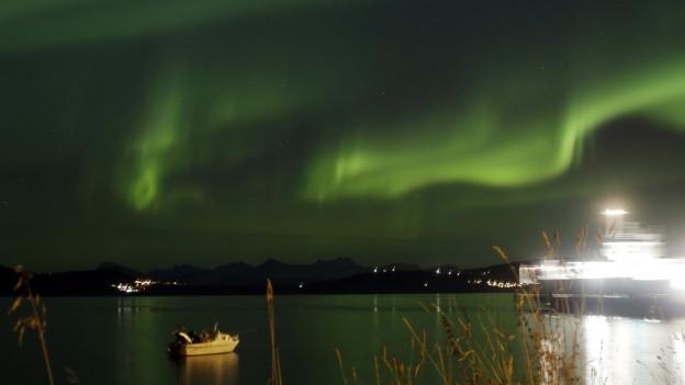 Polarlichter leuchten über einem Fjord in Norwegen.