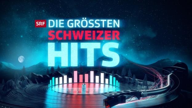 Logo der grössten Schweizer Hits mit Plattenspieler