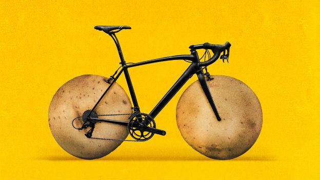 Grafik: Rennvelo mit Kartoffelrädern
