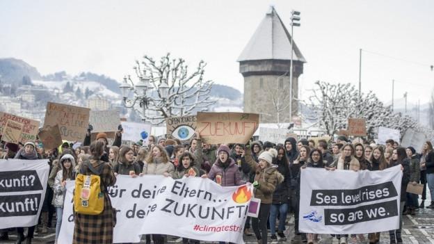 Auch in Luzern protestieren Schülerinnen und Schüler.
