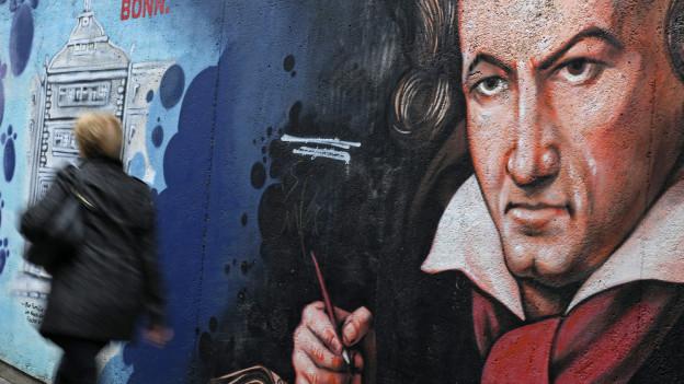 Wandbild mit Konterfei Beethovens in Bonn an einer Wand