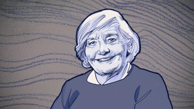 Gezeichnetes Portrait einer älteren Dame.