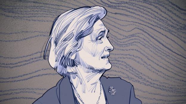Portraitzeichnungen von einer älteren Dame.