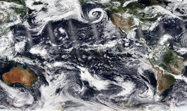 Ein Satellitenbild des Pazifik.