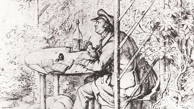Jean Paul dichtet in seiner Gartenlaube in Bayreuth.