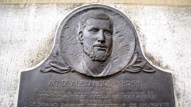 Ehrentafel für Alexandre Yersin in Lausanne.