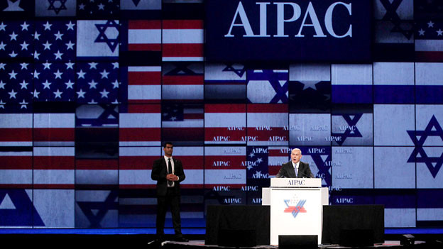 Der israelische Ministerpräsident Netanyahu bei seinem Auftritt an der AIPAC-Jahresversammlung 2011.