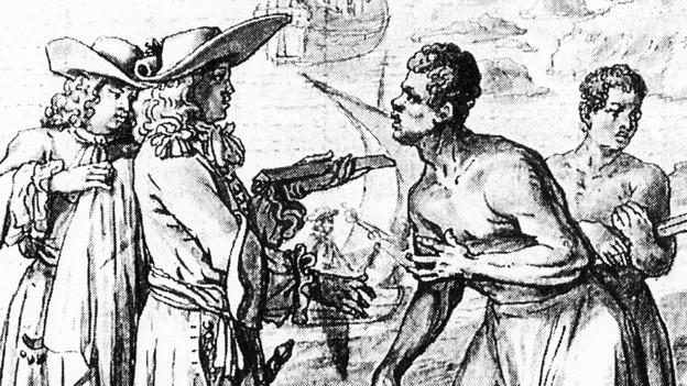 Schwarz-weisse Zeichnung einer Szene des Tauschhandels in Mexiko.