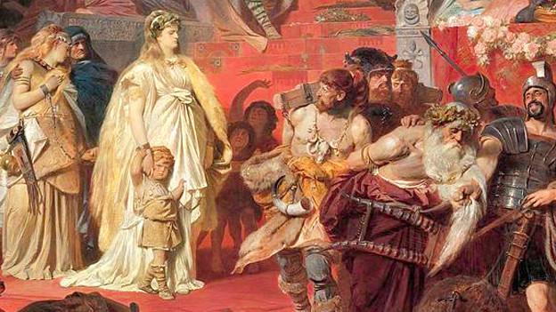 Gemälde eines Triumphzuges.
