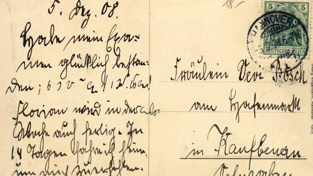 Postkarte von 1908, teils in Sütterlinschrift geschrieben.