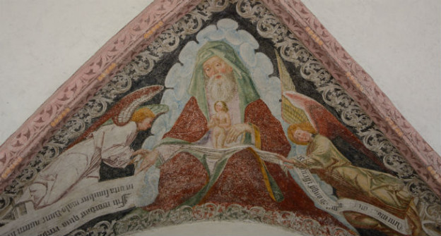 Eine Freske, die die von Engeln in Abrahams Schoß getragene Seele zeigt.